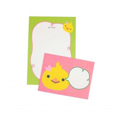 Mini papier à lettre & enveloppe assorti petit poussin jaune