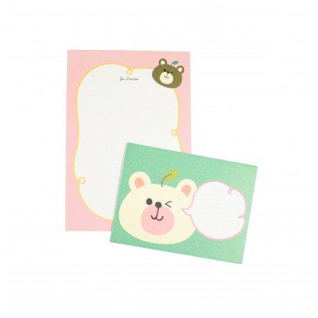 Mini papier à lettre & enveloppe assorti ourson blanc et ourson brun