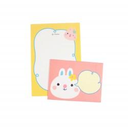 Mini papier à lettre & enveloppe assorti lapin blanc et lapin rose