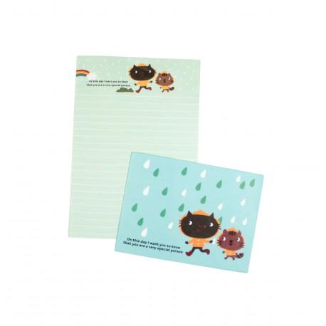 Mini papier à lettre & enveloppe assorti chats et gouttes de pluie
