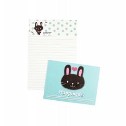 Mini papier à lettre & enveloppe assorti petit lapin noir souriant