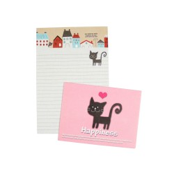Mini papier à lettre & enveloppe assorti Hapiness chat et maisons de ville