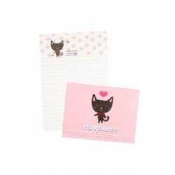 Mini papier à lettre & enveloppe assorti Happy Chaton noir souriant et petits pois roses